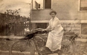 Woman on Harley Davidson